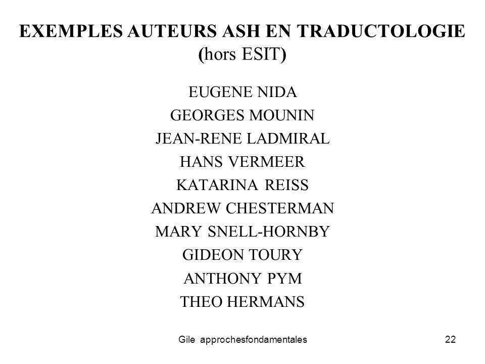 EXEMPLES AUTEURS ASH EN TRADUCTOLOGIE (hors ESIT)