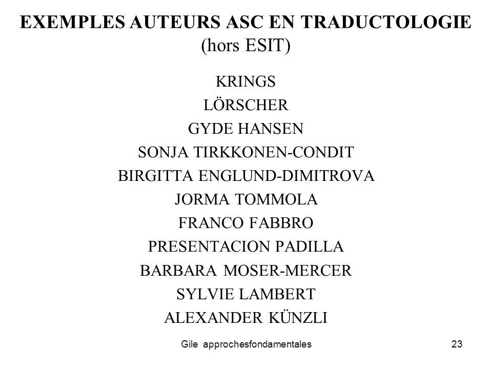 EXEMPLES AUTEURS ASC EN TRADUCTOLOGIE (hors ESIT)