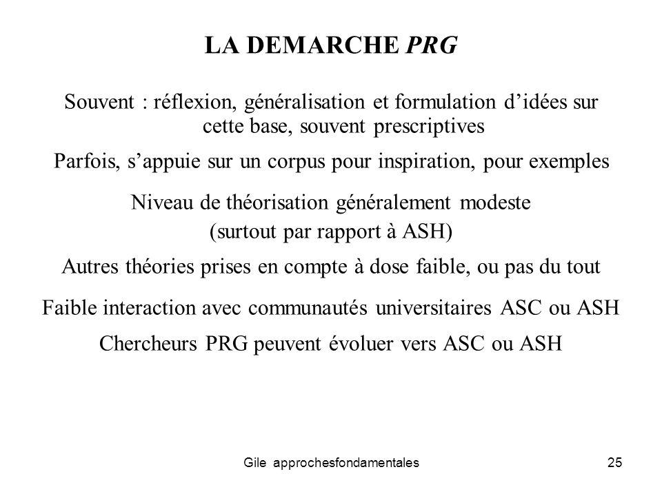 LA DEMARCHE PRG Souvent : réflexion, généralisation et formulation d'idées sur cette base, souvent prescriptives.