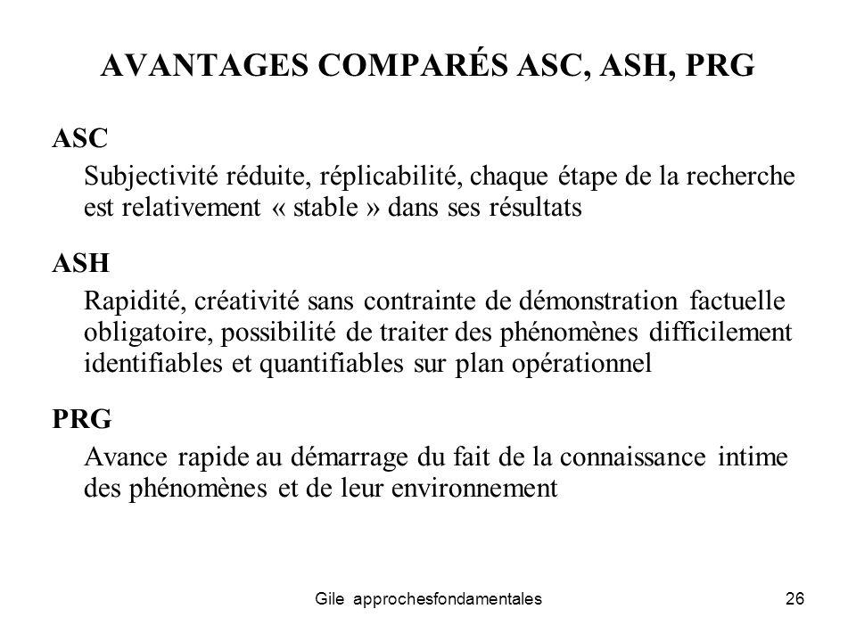 AVANTAGES COMPARÉS ASC, ASH, PRG