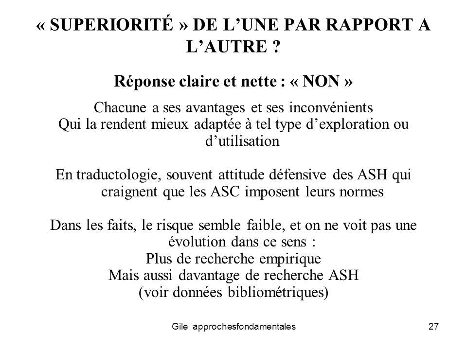 « SUPERIORITÉ » DE L'UNE PAR RAPPORT A L'AUTRE