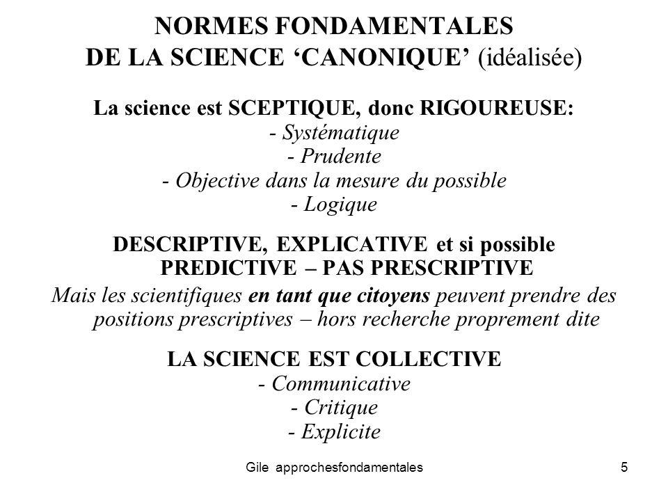 NORMES FONDAMENTALES DE LA SCIENCE 'CANONIQUE' (idéalisée)