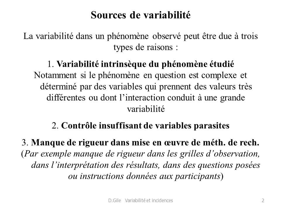 Sources de variabilité