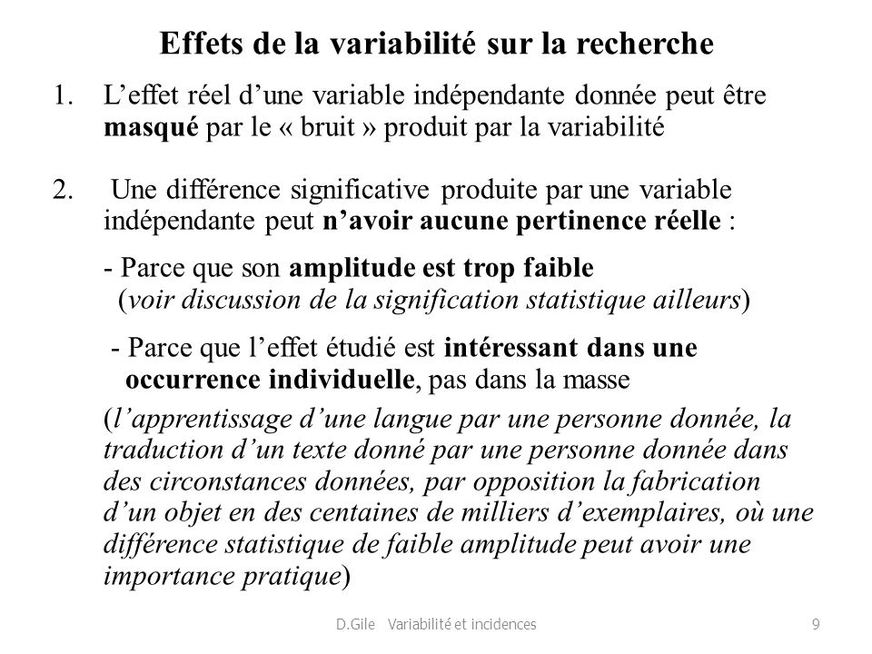 Effets de la variabilité sur la recherche