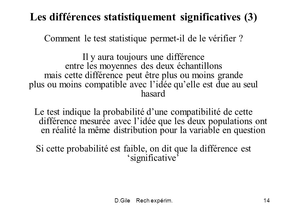 Les différences statistiquement significatives (3)
