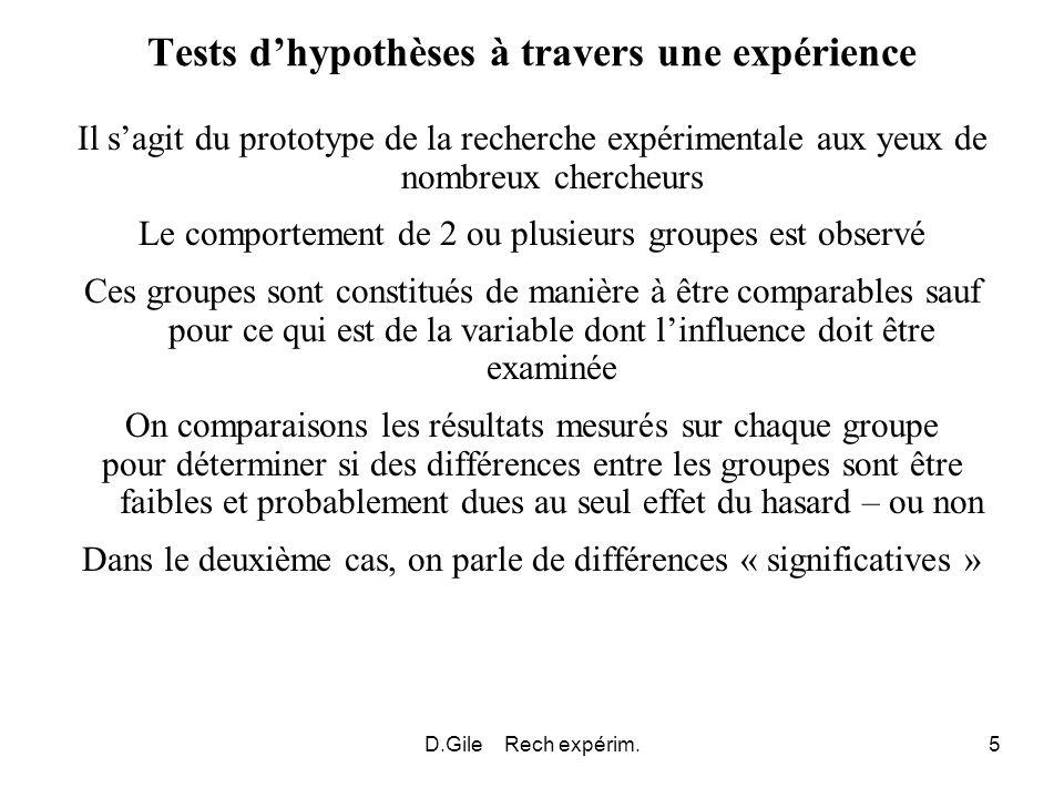 Tests d'hypothèses à travers une expérience