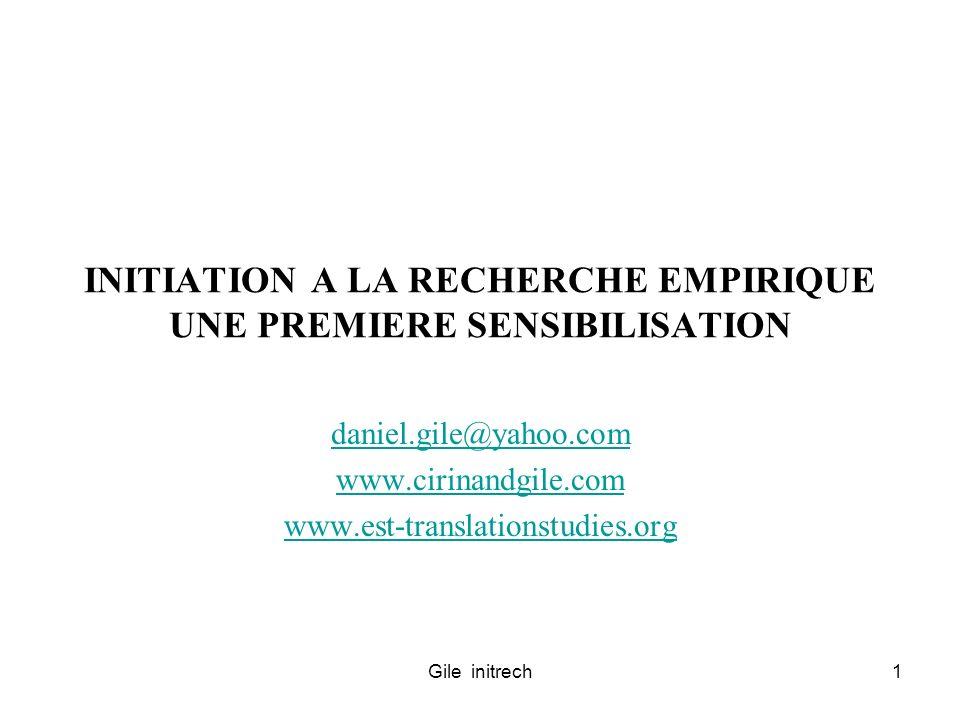 INITIATION A LA RECHERCHE EMPIRIQUE UNE PREMIERE SENSIBILISATION