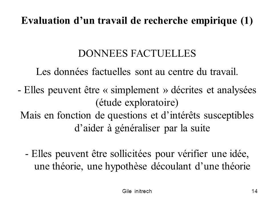 Evaluation d'un travail de recherche empirique (1)