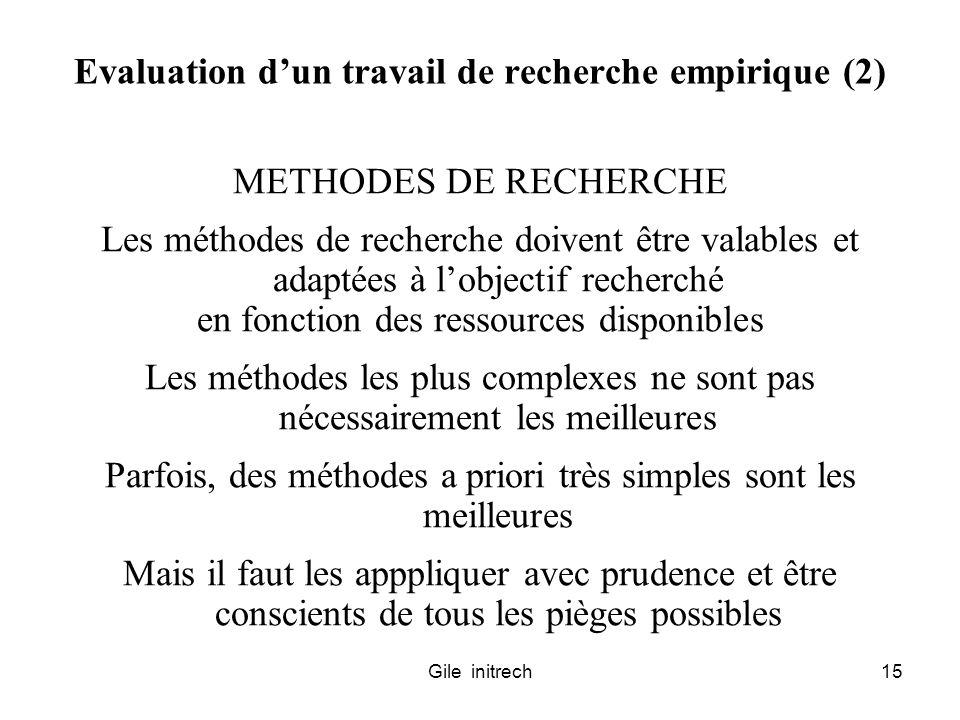 Evaluation d'un travail de recherche empirique (2)