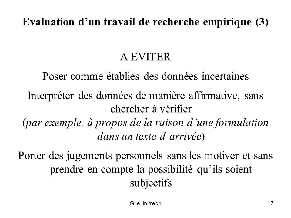 Evaluation d'un travail de recherche empirique (3)
