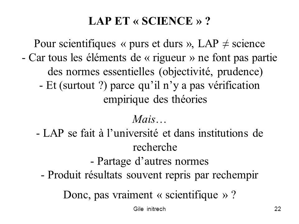 Pour scientifiques « purs et durs », LAP ≠ science