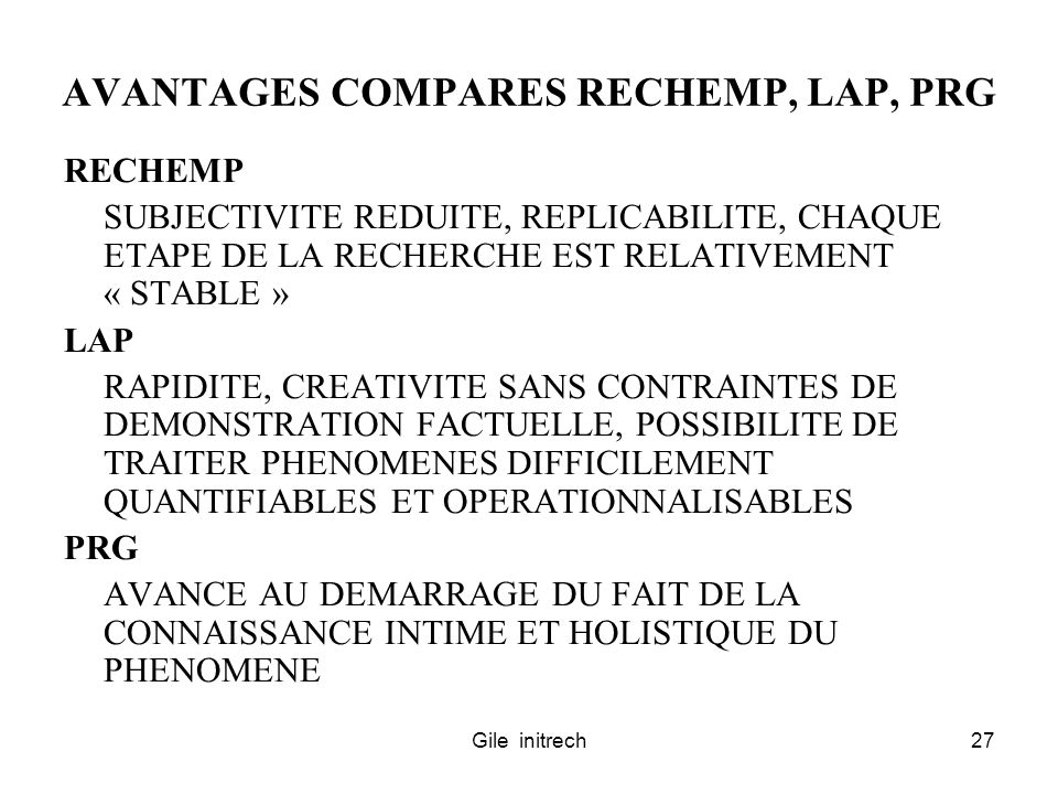 AVANTAGES COMPARES RECHEMP, LAP, PRG