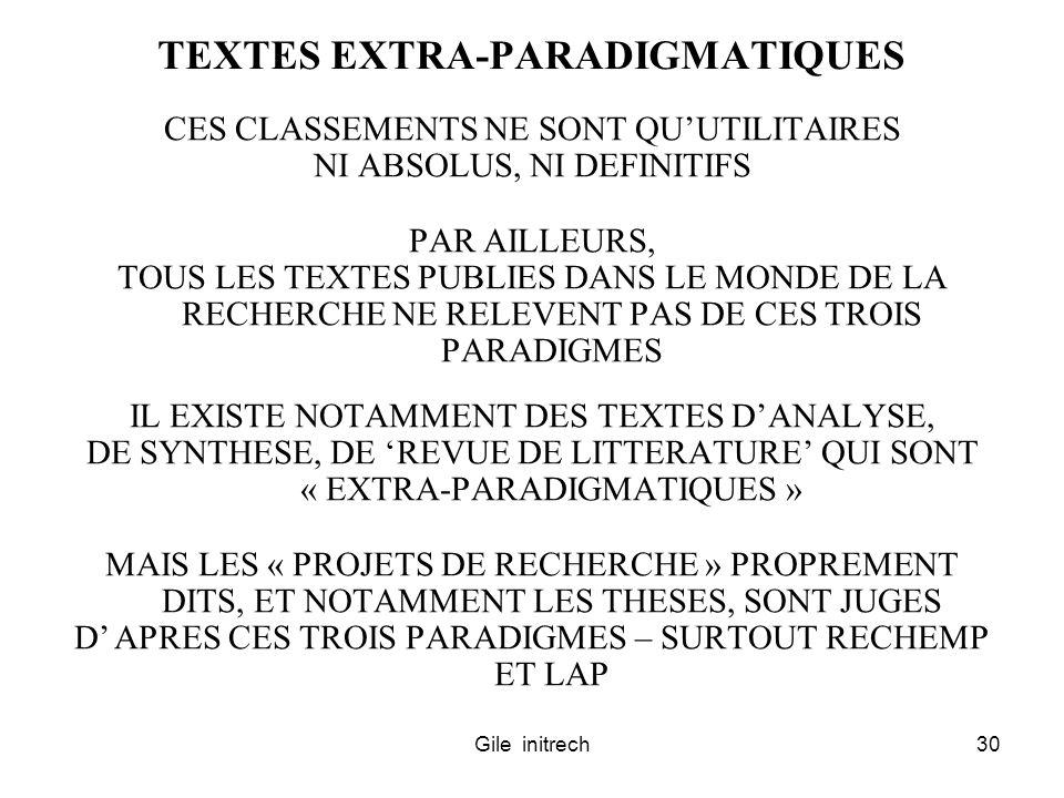 TEXTES EXTRA-PARADIGMATIQUES
