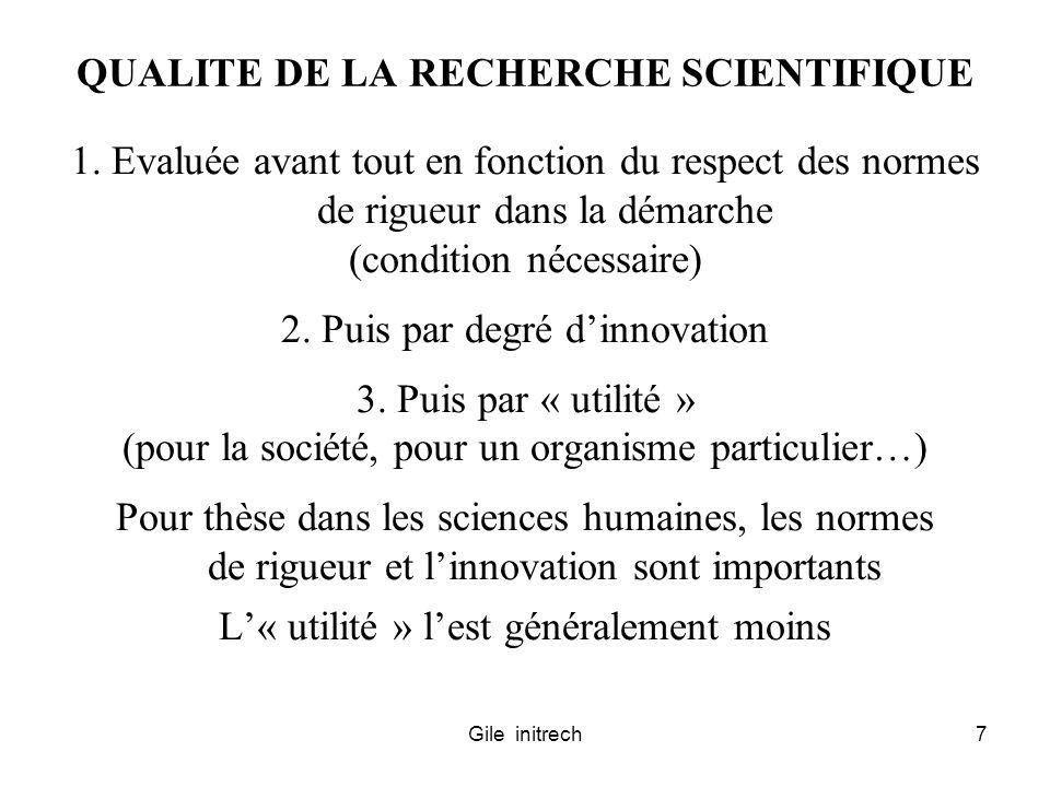 QUALITE DE LA RECHERCHE SCIENTIFIQUE