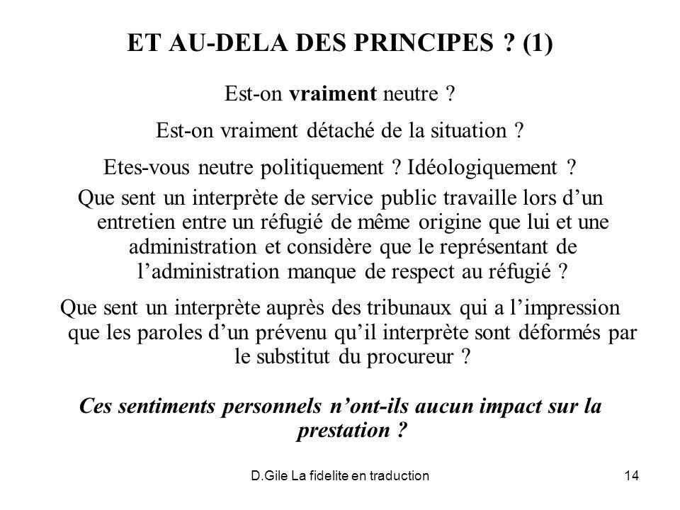 ET AU-DELA DES PRINCIPES (1)