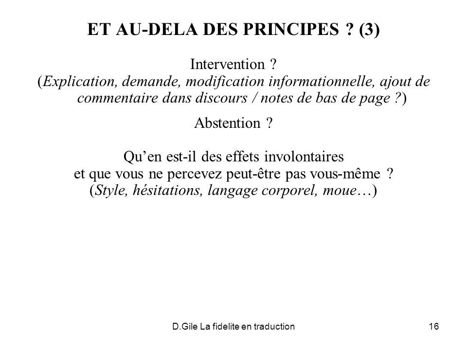 ET AU-DELA DES PRINCIPES (3)