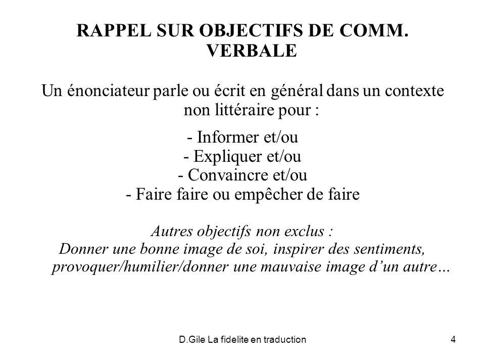 RAPPEL SUR OBJECTIFS DE COMM. VERBALE