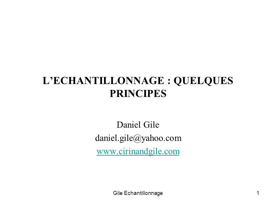 L'ECHANTILLONNAGE : QUELQUES PRINCIPES