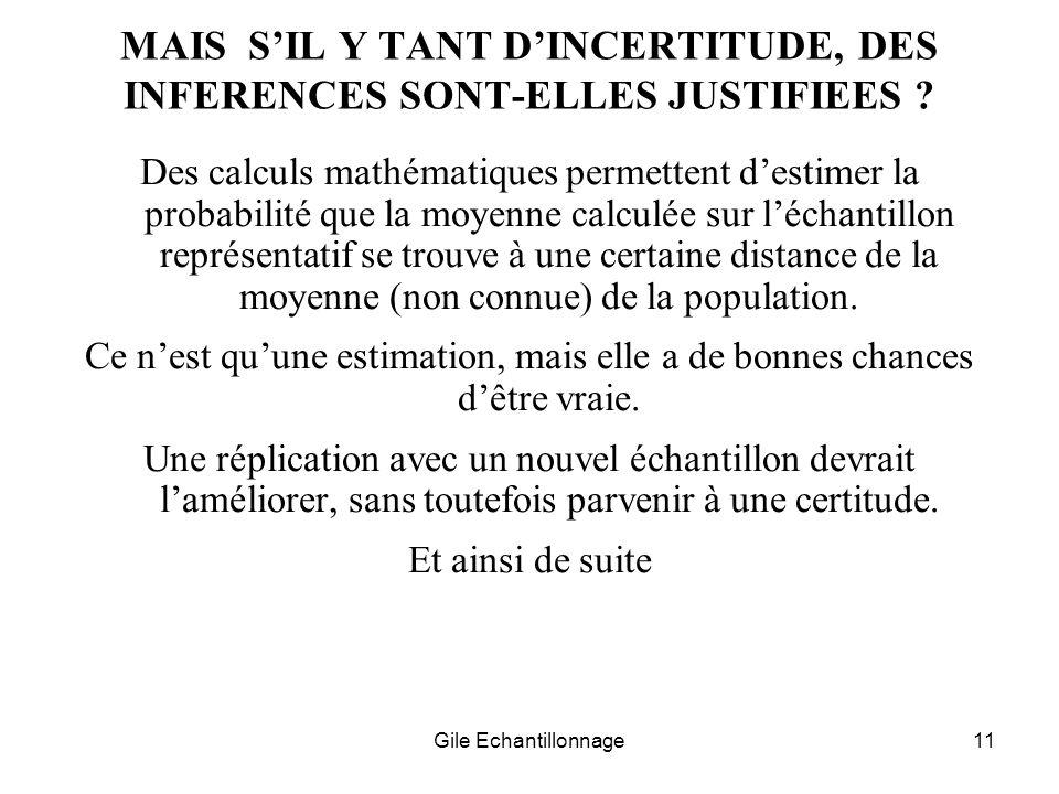MAIS S'IL Y TANT D'INCERTITUDE, DES INFERENCES SONT-ELLES JUSTIFIEES