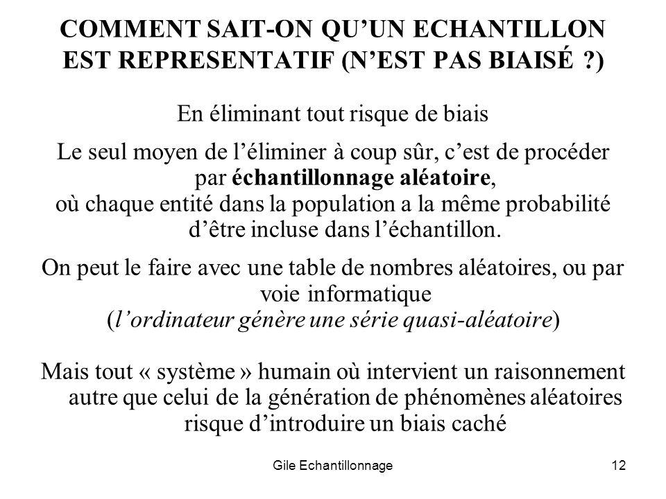 COMMENT SAIT-ON QU'UN ECHANTILLON EST REPRESENTATIF (N'EST PAS BIAISÉ