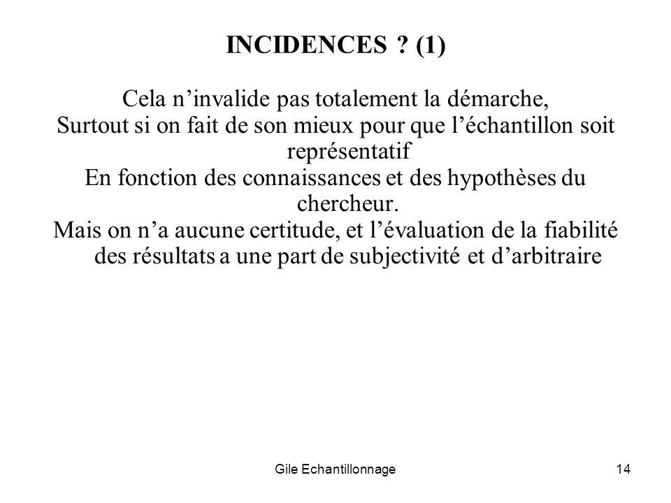INCIDENCES (1) Cela n'invalide pas totalement la démarche,
