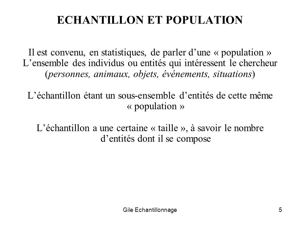 ECHANTILLON ET POPULATION