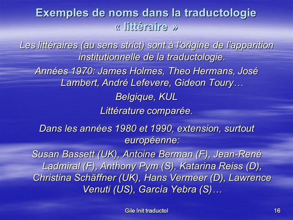 Exemples de noms dans la traductologie « littéraire »