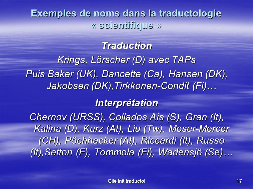 Exemples de noms dans la traductologie « scientifique »