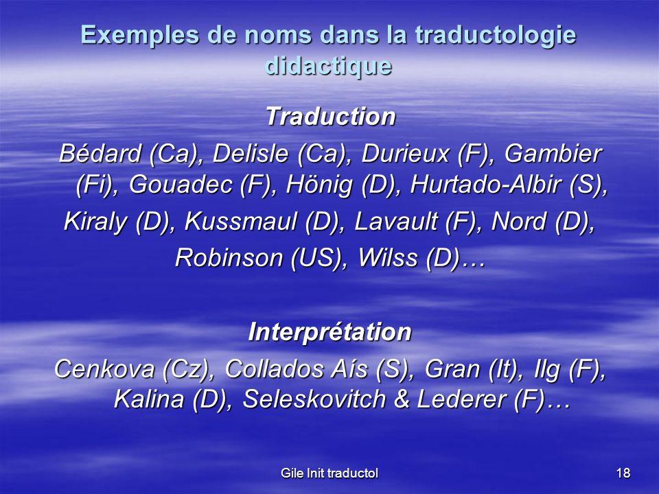 Exemples de noms dans la traductologie didactique