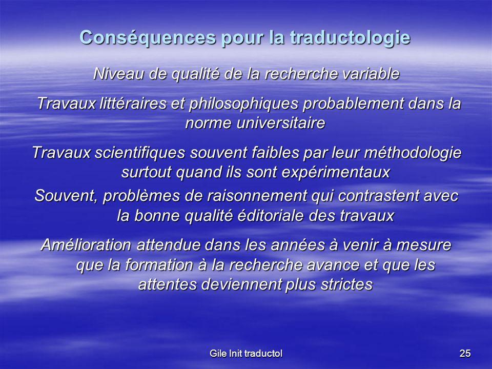 Conséquences pour la traductologie