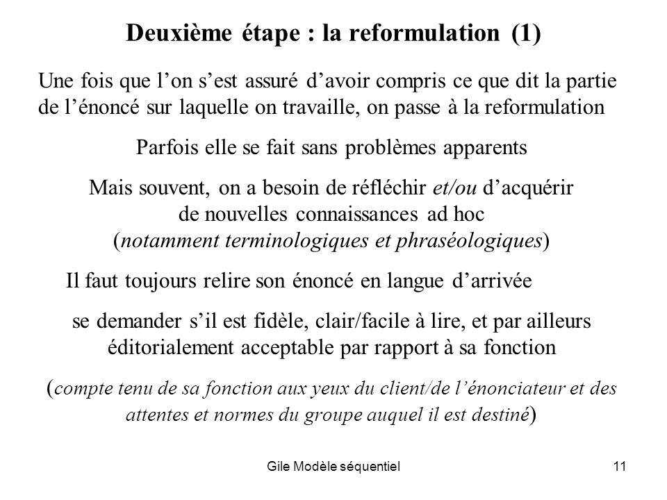 Deuxième étape : la reformulation (1)