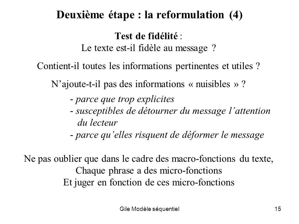 Deuxième étape : la reformulation (4)