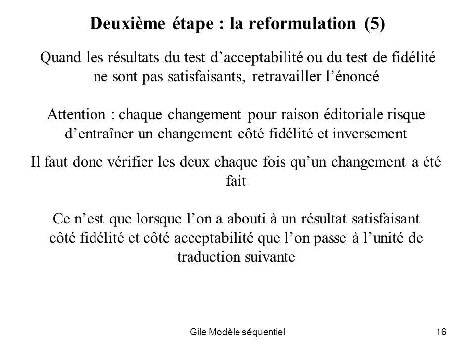 Deuxième étape : la reformulation (5)