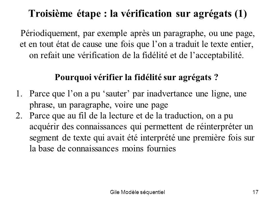 Troisième étape : la vérification sur agrégats (1)