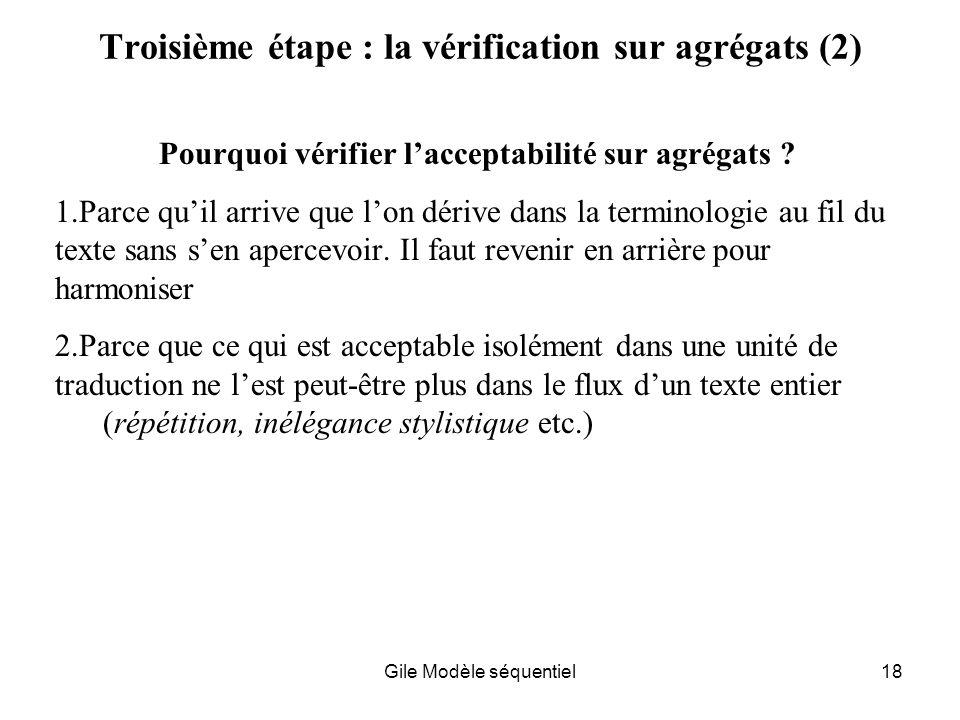 Troisième étape : la vérification sur agrégats (2)