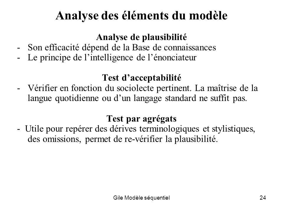 Analyse des éléments du modèle