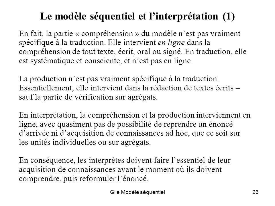 Le modèle séquentiel et l'interprétation (1)