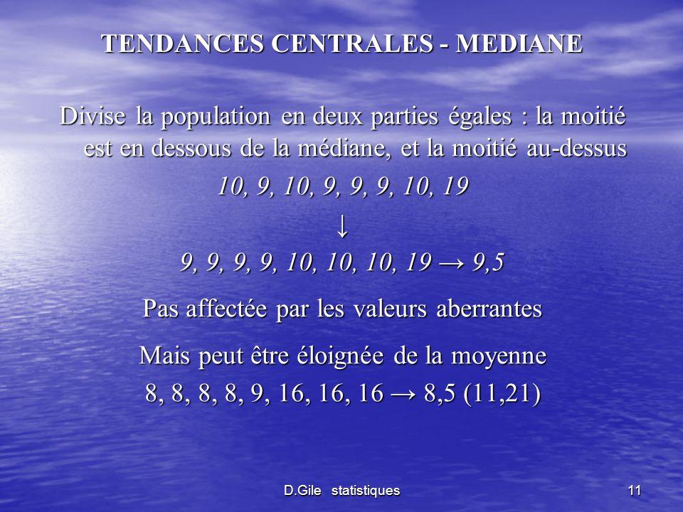 TENDANCES CENTRALES - MEDIANE