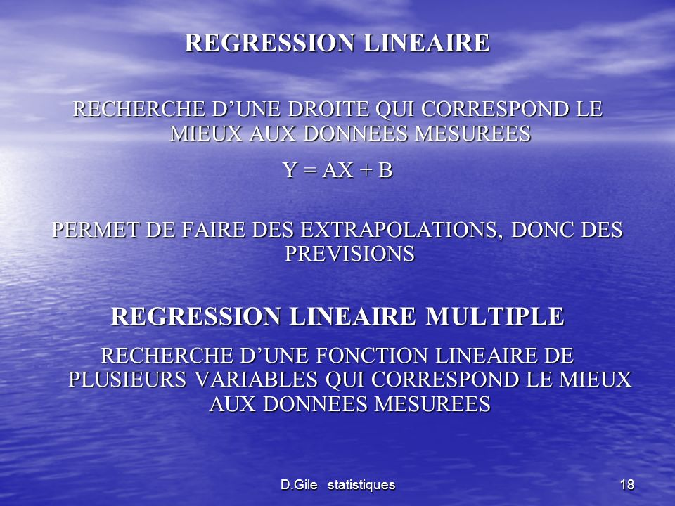 REGRESSION LINEAIRE MULTIPLE