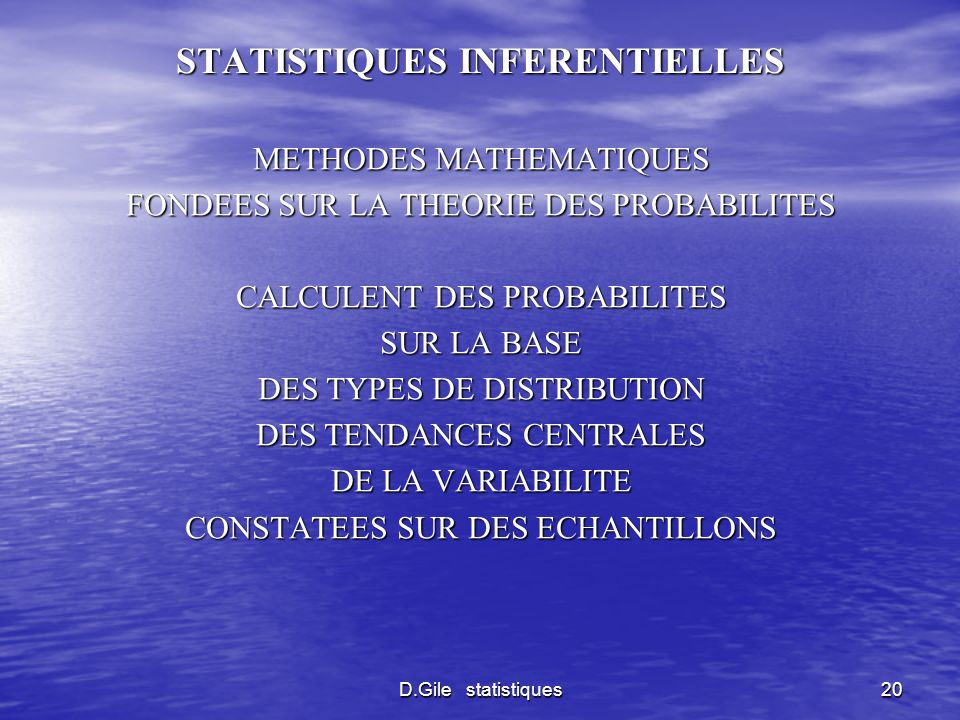 STATISTIQUES INFERENTIELLES