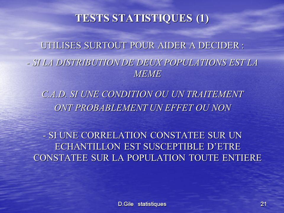 TESTS STATISTIQUES (1) UTILISES SURTOUT POUR AIDER A DECIDER :