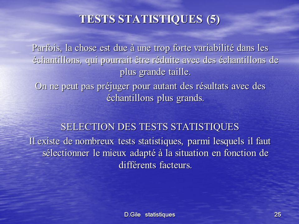 SELECTION DES TESTS STATISTIQUES