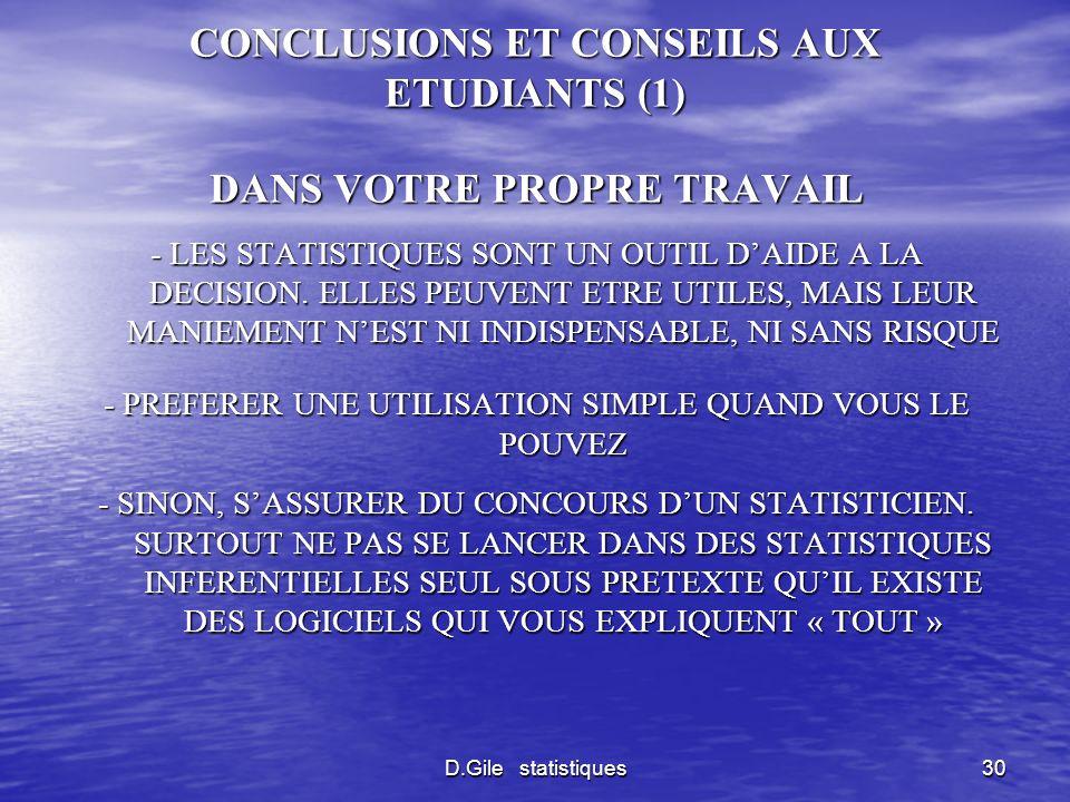 CONCLUSIONS ET CONSEILS AUX ETUDIANTS (1)