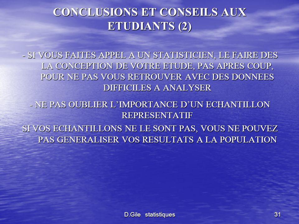 CONCLUSIONS ET CONSEILS AUX ETUDIANTS (2)