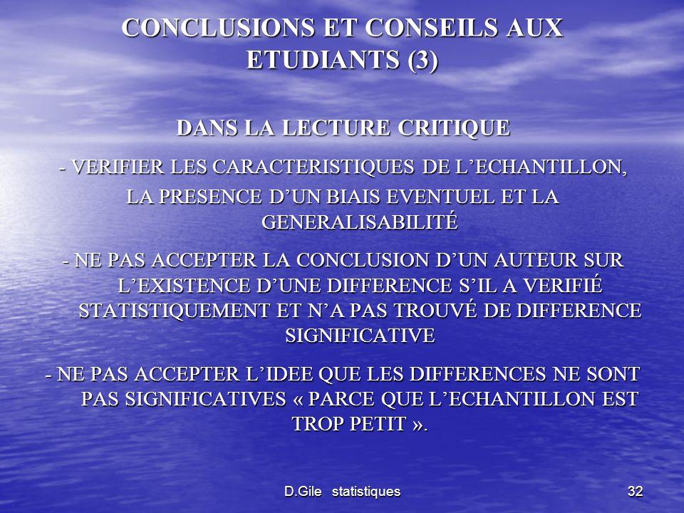 CONCLUSIONS ET CONSEILS AUX ETUDIANTS (3)