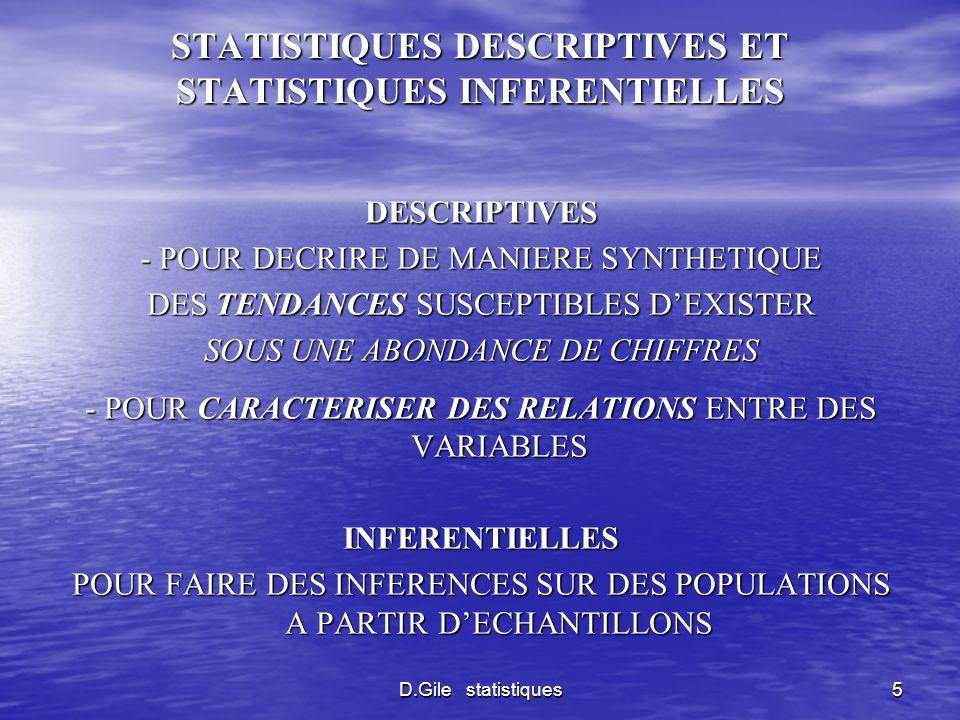STATISTIQUES DESCRIPTIVES ET STATISTIQUES INFERENTIELLES