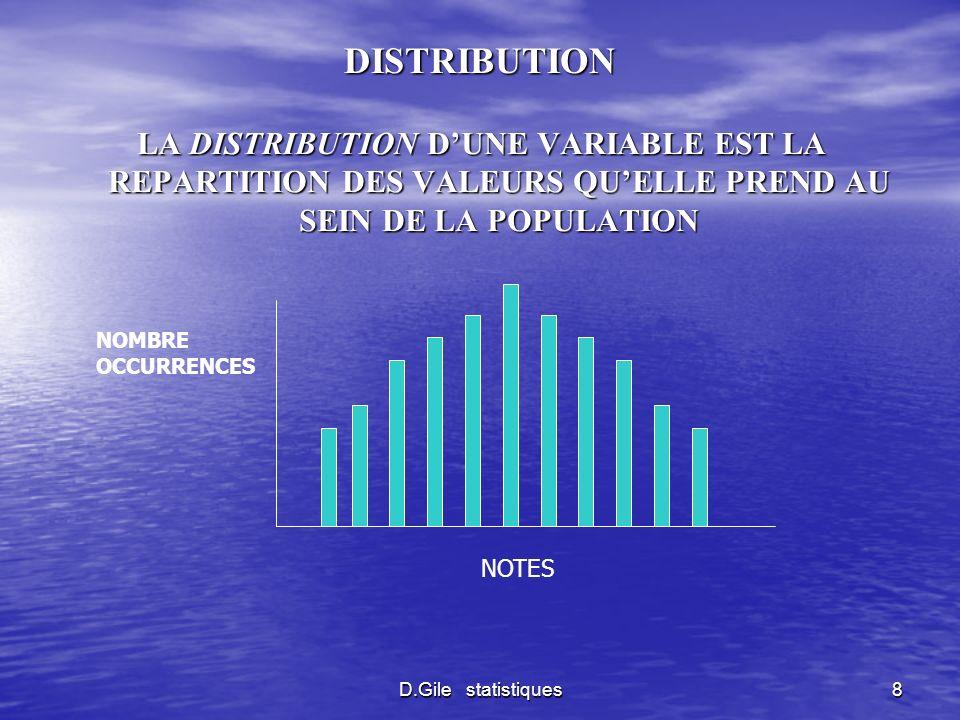 DISTRIBUTIONLA DISTRIBUTION D'UNE VARIABLE EST LA REPARTITION DES VALEURS QU'ELLE PREND AU SEIN DE LA POPULATION.