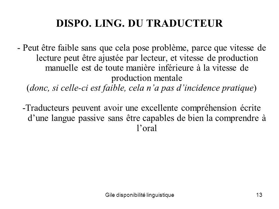 DISPO. LING. DU TRADUCTEUR