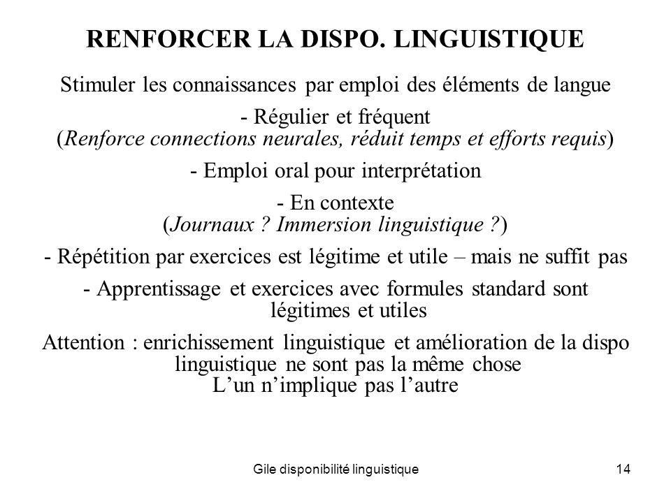 RENFORCER LA DISPO. LINGUISTIQUE