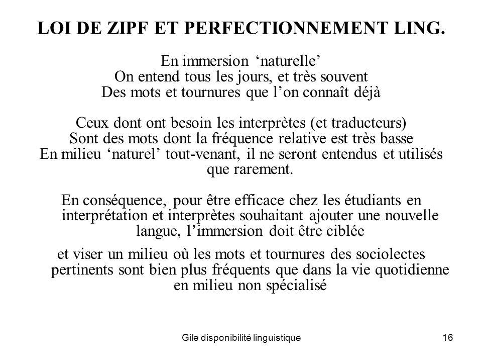LOI DE ZIPF ET PERFECTIONNEMENT LING.